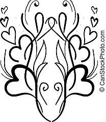 Heart ornament, illustration, vector on white background.