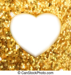 heart., ouro, quadro, eps, forma, 8
