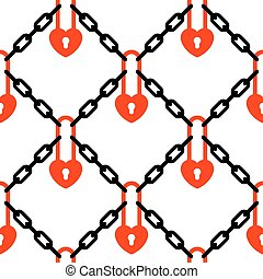 Heart padlock and chains network pattern - Heart padlock and...