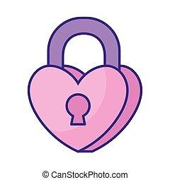heart padlock icon, flat style
