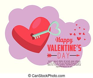 heart padlock with key to valentine day