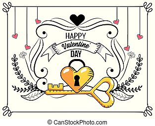 heart padlock with key to valentines day