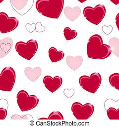 heart., padrão, valentines, seamless, ilustração, vetorial, fundo, dia, feliz