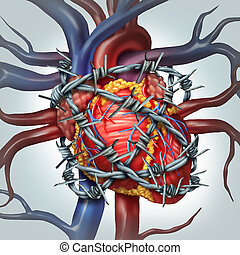 Heart Pain - Heart pain medical health care concept as a...