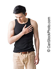 heart pain - Asian young man with heart pain, close up...