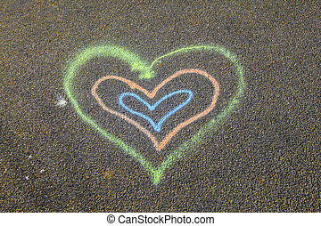 heart painted on the street