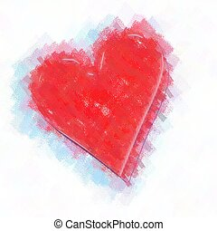 heart painting - 2d picture painting - computer generated ...