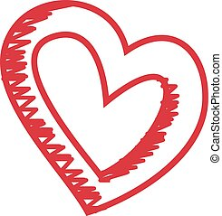 Heart Pattern Hand Drawn Heart Sketch Isolated On A White Background. Vector Sketch Style Illustration.