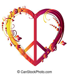 heart peace symbol - a beautiful colored peace symbol with a...
