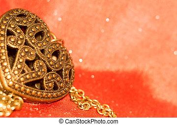 Heart Pendant on Silk - Vintage big heart shaped pendant on...