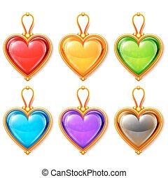 Heart Pendants - Golden heart shaped pendants isolated on...