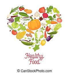 heart., persone, sano, manifesto, verdura, commerciale, nutrition., mangiare, incoraggiare, saporito, possedere, grande, proprio, organico, bandiera, dentro