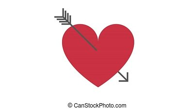 Heart pierced with arrow animation. Symbol of love. Valentine's day video. Isolated on white background.