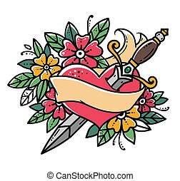 Heart pierced with dagger. Retro tattoo. Heart with ribbon and flowers. Old school retro vector illustration.