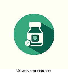Heart pills icon with shadow on a green circle. Vector pharmacy illustration