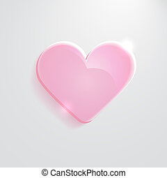 Heart pink glass icon