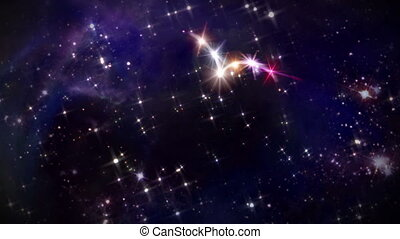 heart pink star in space camera rotation - starry night in...