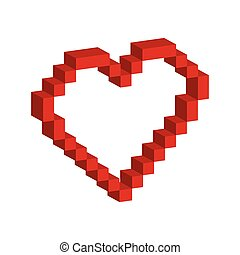 heart pixel love romatic icon. Vector graphic - heart pixel...