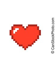 Heart pixel red icon isolated on white background. Romantic love vector illustration