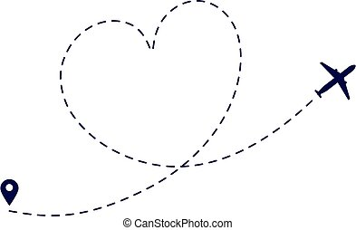 Heart plane route. Love plane path. Airplane flying destination. Lovely romantic traveling honeymoon. Dotted flight way vector illustration