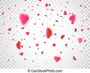 heart., plano de fondo, corazón, vector, caer, pétalo,...