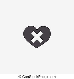 heart plaster icon, isolated, white background