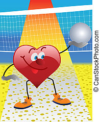 Heart playing in volleyball