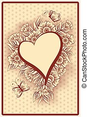 Heart poker vintage playing card