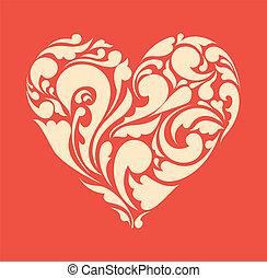 heart., poster, abstract, retro, floral, liefde, concept.
