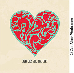 heart., poster, abstract, retro, floral, liefde, concept.