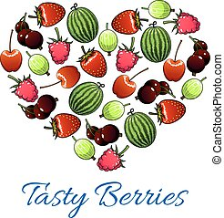 Heart poster of vector fresh berries and fruits