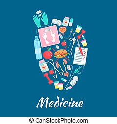 Heart poster of vector medicine items
