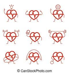 Heart power set health cardio