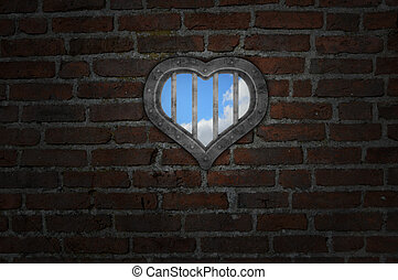 heart prison window in old brick wall - 3d illustration