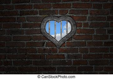 heart prison window in old brick wall - 3d illustration
