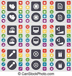 Heart, Processor, Text file, Router, Monitor, Volume, Microphone, Plus, Gift icon symbol. A large set of flat, colored buttons for your design. Vector