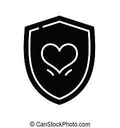 Heart protection black icon, concept illustration, vector flat symbol, glyph sign.