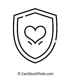 Heart protection line icon, concept sign, outline vector illustration, linear symbol.