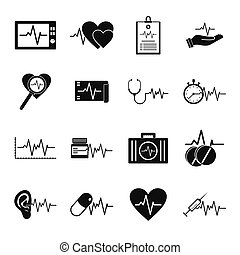 Heart pulse beat icons set, simple style