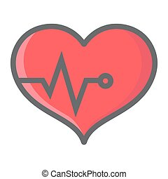 Heart pulse filled outline icon, fitness and sport, heartbeat sign vector graphics, a colorful line pattern on a white background, eps 10.