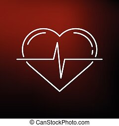 Heart pulse icon on red background
