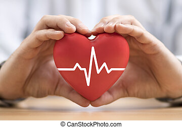 Heart pulse in hands. Health insurance concept