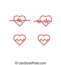 Heart pulse logo icon template vector