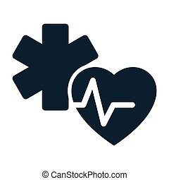 heart pulse medical star life icon on white background