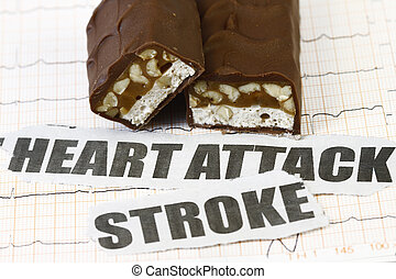 Heart pulse with chocolate - concept for health concious.
