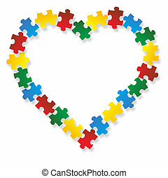 heart puzzle - illustration of a puzzle in the shape of a...
