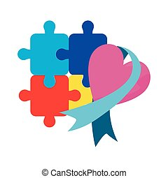 heart puzzle ribbon autism day vector illustration
