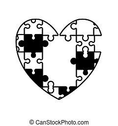 heart puzzle solution monochrome