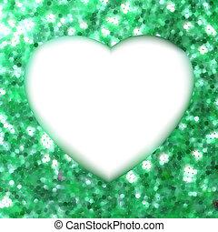 heart., quadro, eps, forma, verde, 8