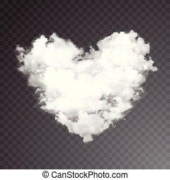heart., réaliste, arrière-plan., vecteur, transparent, nuage